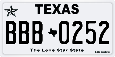 TX license plate BBB0252