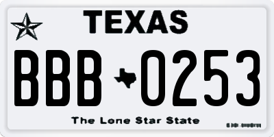 TX license plate BBB0253