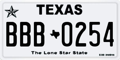 TX license plate BBB0254