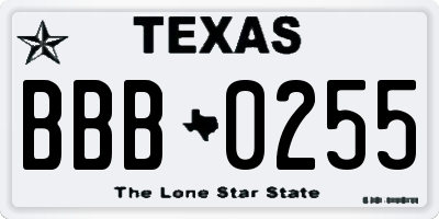 TX license plate BBB0255