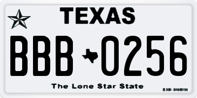 TX license plate BBB0256