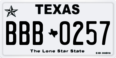 TX license plate BBB0257