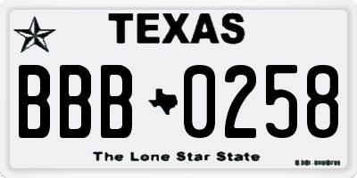 TX license plate BBB0258