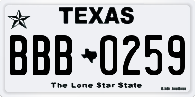 TX license plate BBB0259