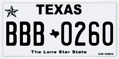 TX license plate BBB0260