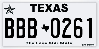 TX license plate BBB0261