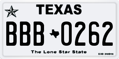 TX license plate BBB0262