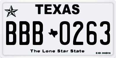 TX license plate BBB0263