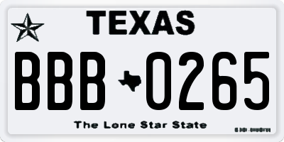 TX license plate BBB0265