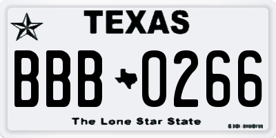 TX license plate BBB0266