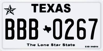 TX license plate BBB0267
