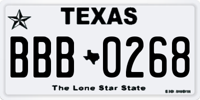 TX license plate BBB0268