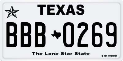 TX license plate BBB0269
