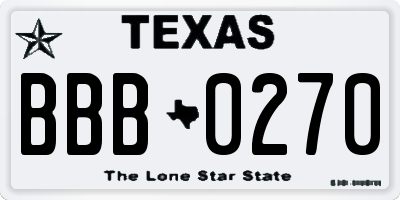 TX license plate BBB0270