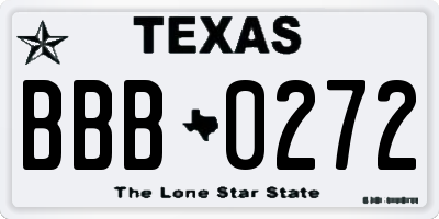 TX license plate BBB0272