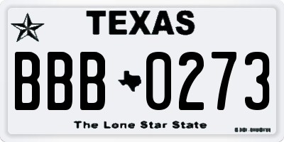 TX license plate BBB0273