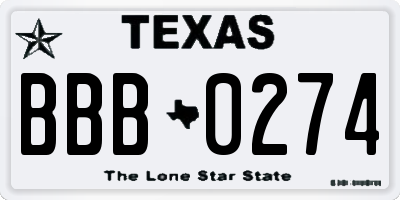 TX license plate BBB0274