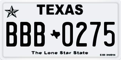TX license plate BBB0275