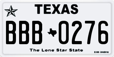 TX license plate BBB0276