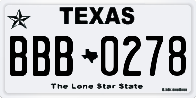 TX license plate BBB0278