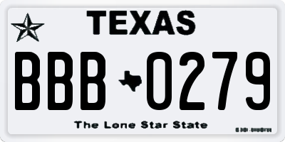 TX license plate BBB0279