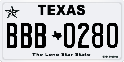 TX license plate BBB0280