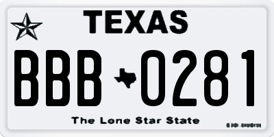 TX license plate BBB0281