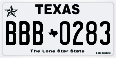 TX license plate BBB0283