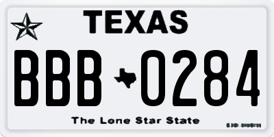 TX license plate BBB0284