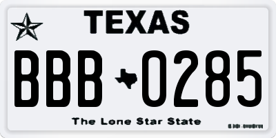 TX license plate BBB0285