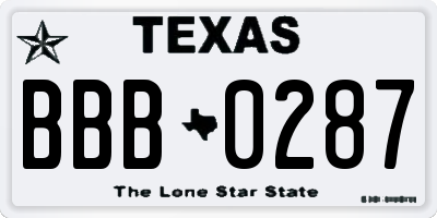 TX license plate BBB0287