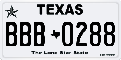 TX license plate BBB0288