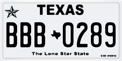 TX license plate BBB0289