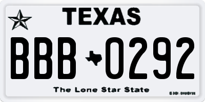 TX license plate BBB0292