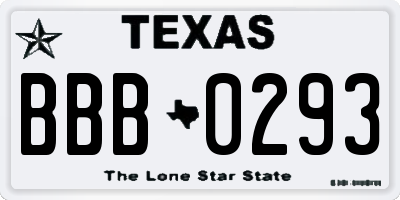 TX license plate BBB0293