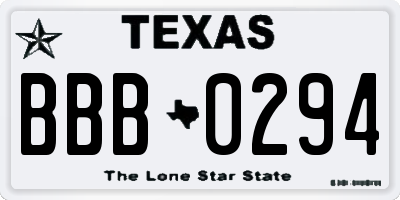 TX license plate BBB0294