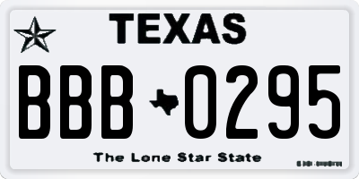 TX license plate BBB0295