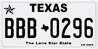 TX license plate BBB0296