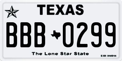 TX license plate BBB0299