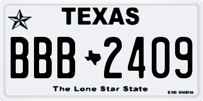 TX license plate BBB2409