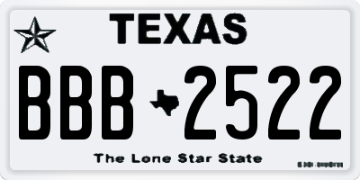 TX license plate BBB2522