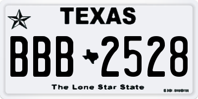 TX license plate BBB2528