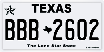TX license plate BBB2602