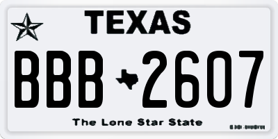 TX license plate BBB2607