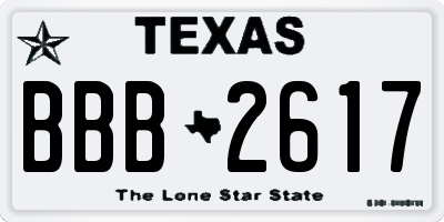 TX license plate BBB2617