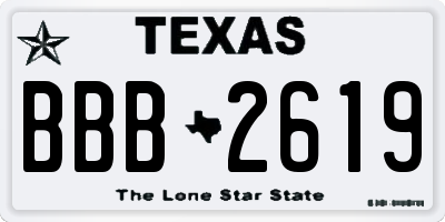 TX license plate BBB2619