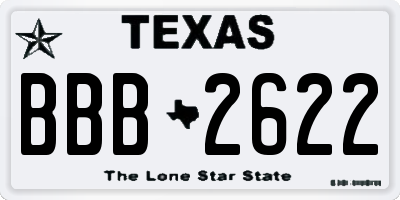 TX license plate BBB2622