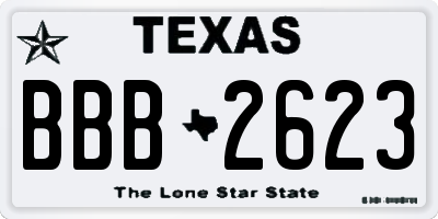 TX license plate BBB2623