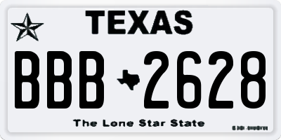TX license plate BBB2628