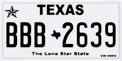TX license plate BBB2639
